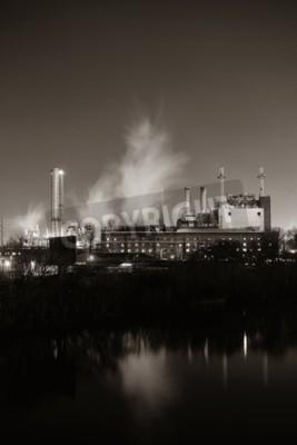Quadro Fabbrica con camino durante la notte a Philadelphia.