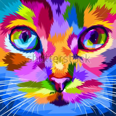 Quadro faccia di gatto vicino agli occhi colorati