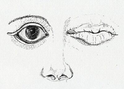 Quadro Face, art metaphor, pen and ink drawing on paper texture