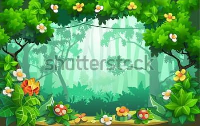 Quadro Fantastica foresta di fiori, favolosa giungla, tropici. Sfondo vettoriale