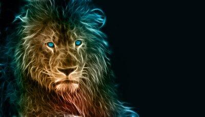 Quadro Fantasy arte digitale di un leone