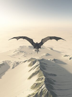 Quadro Fantasy illustration of a grey dragon flying over a snow covered mountain range, 3d digitally rendered illustration