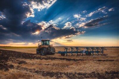 Quadro Farmer in trattore preparazione terreno con coltivatore