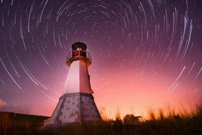 Quadro faro con cielo notturno a sfondo stelle sentieri