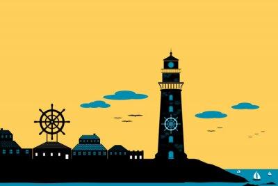 Quadro Faro e Città silhouette paesaggio vettore