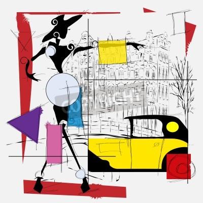 Quadro fashion girl cubismo illustrazione moderna
