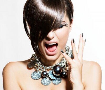 Quadro Fashion Model Girl Portrait. Emozioni. Trendy Hair Style