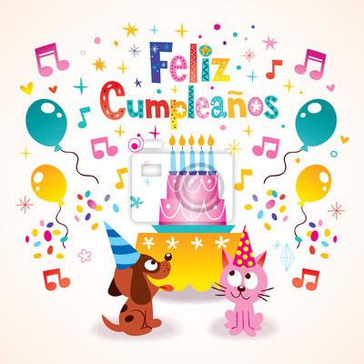 Feliz cumpleanos   buon compleanno biglietto di auguri in spagnolo