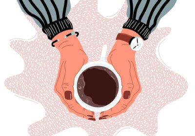 Quadro Female hands holding coffee cup flat vector illustration