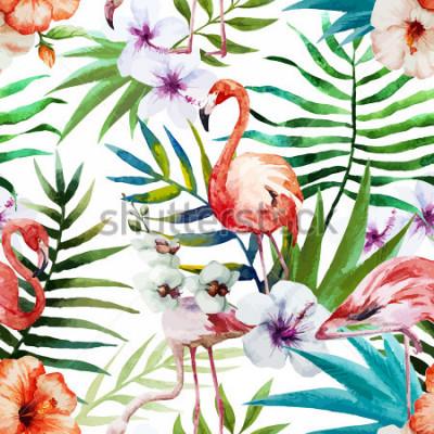 Quadro Fenicotteri, acquerelli, tropici, motivi