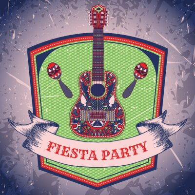 Quadro Festa a Fiesta messicana etichettare con maracas e chitarra messicano .Hand disegnato illustrazione vettoriale poster con sfondo grunge. Flyer o biglietto di auguri template