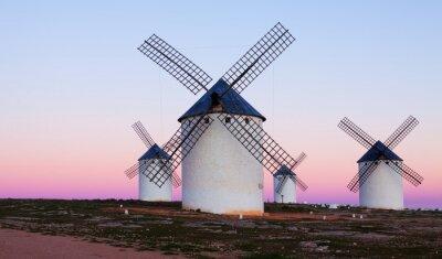 Quadro Few windmills at field in evening