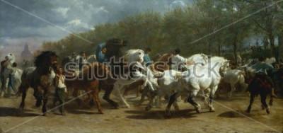 Quadro FIERA DEL CAVALLO, di Rosa Bonheur, 1852-55, pittura francese, olio su tela. Il mercato dei cavalli a Parigi sul Boulevard de lx90Hopital è stato dipinto per un periodo di 3 anni. Quando si disegna su