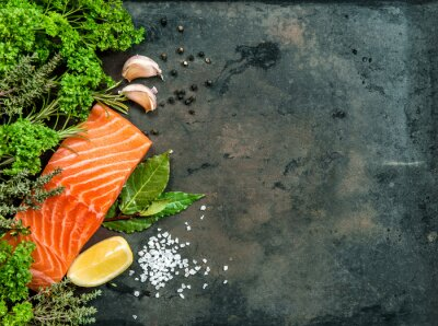 Quadro Filetto di salmone di pesce con erbe e spezie