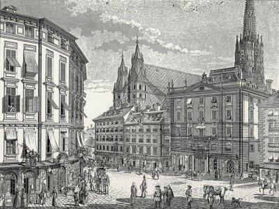 Quadro Fine di Vienna Stock im Eisen-Platz del 18 ° secolo., Modello di incisione in rame