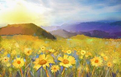 Quadro Fiore della margherita blossom.Oil dipinto di un tramonto rurale