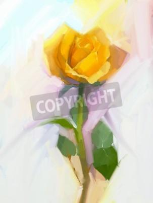 Quadro Fiore di rosa giallo astratto con pittura a olio verde foglia. Mano dipinta floreale in morbido colore e sfocato sfondo di stile