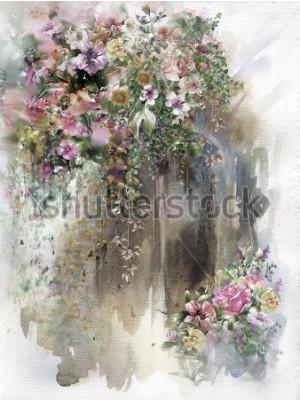 Quadro Fiori astratti sulla pittura dell'acquerello della parete. Fiori primaverili multicolori