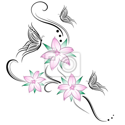 Fiori di ciliegio e farfalline stilizzati tatuaggio dipinti da ...