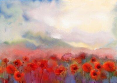 Quadro Fiori rossi del papavero archiviato pittura ad acquerello
