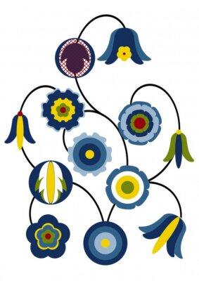 Fiori stilizzati kashubian dipinti da parete • quadri Casciubia ...