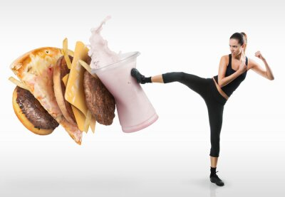 Quadro Fit giovane donna che lotta off fast food