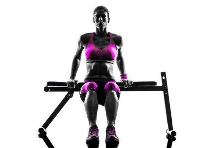 Quadro fitness donna push-up esercizi silhouette