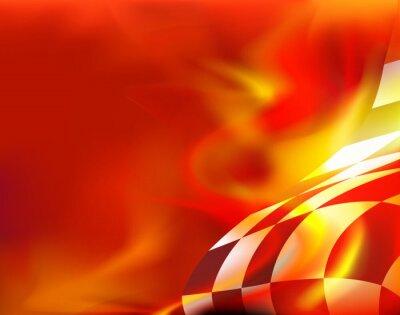 Quadro flag background a scacchi e fiamme rosse