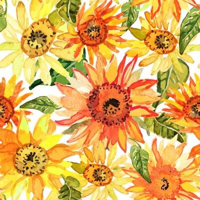 Quadro Floral seamless con girasoli acquerello disegnato.