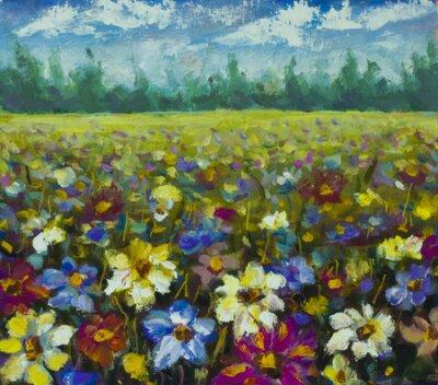 Quadro Flowers field oil painting.