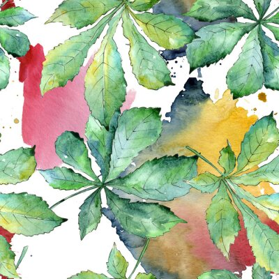 Quadro Foglie di castagno verde in stile acquerello. Motivo di sfondo senza soluzione di continuità. Foglia di aquarelle per sfondo, trama, modello di involucro, cornice o bordo.