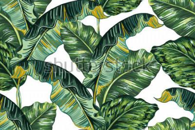 Quadro Foglie di palma tropicali, fondo del modello floreale di vettore senza cuciture della foglia della giungla