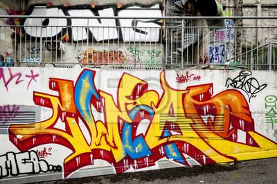 Quadro Fond Mur de graffiti