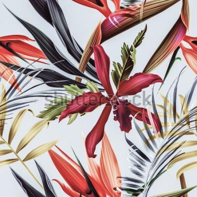 Quadro Fondo tropicale senza cuciture del modello del fiore, della pianta e della foglia