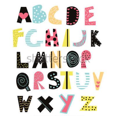 Quadro Font bambini divertenti. Carino alfabeto per l'educazione o l'arredamento. Illustrazione disegnata a mano di vettore