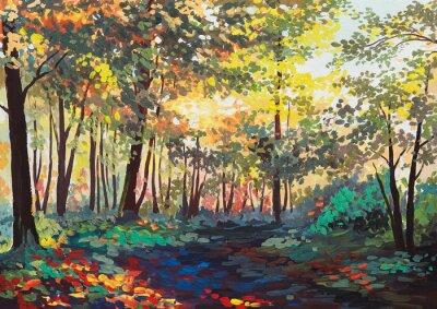Quadro foresta colorata con alberi in primavera al tramonto, pittura ad olio