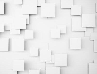 Quadro forma geometrica astratta 3d cubi bianchi