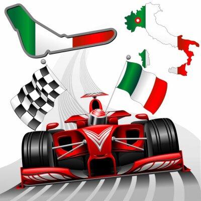 Quadro Formula 1 Red Car Race GP Monza Italia