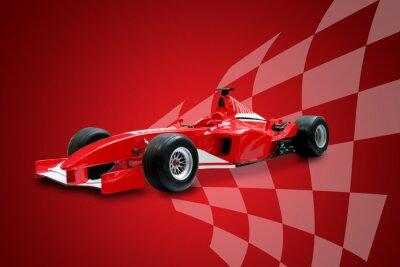 Quadro Formula rosso e una macchina da corsa di bandiera