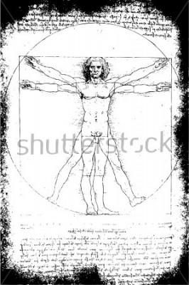 Quadro Foto dell'uomo vitruviano di Leonardo Da Vinci del 1492 su sfondo testurizzato.
