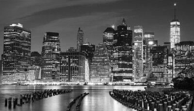 Quadro Foto in bianco e nero di Manhattan waterfront, New York, Stati Uniti d'America.