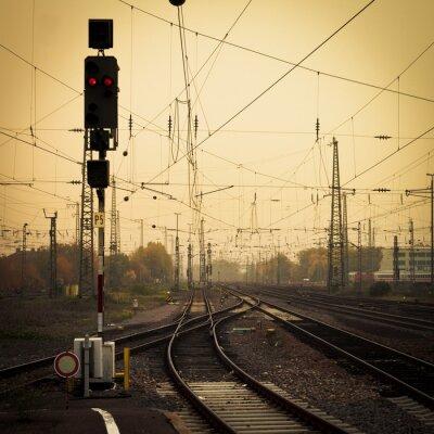 Quadro Fotografia mobile tono confondere ferroviario ascolti crepuscolo