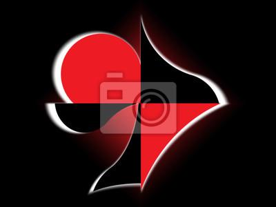 Frammenti Dei Semi Delle Carte Su Uno Sfondo Rosso E Nero Dipinti Da