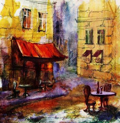 Quadro Francese all'aperto pittura european cafe, disegno grafico a colori