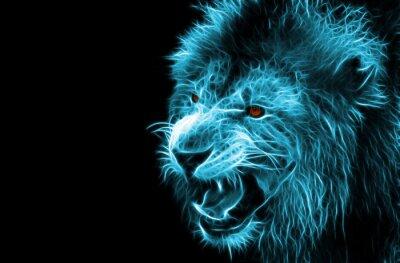Quadro Frattale fantasia arte digitale di un leone su uno sfondo isolato