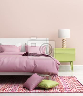 Fresco elegante camera da letto rosa moderno con tappeto dipinti da ...