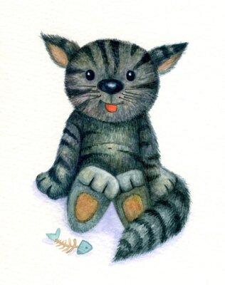 Quadro Gattino sveglio, acquarello.