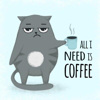 Quadro Gatto disegnato a mano del fumetto blu sveglio con la tazza di caffè. Gatto che tiene una tazza.