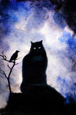 Quadro gatto nero con gli occhi verdi