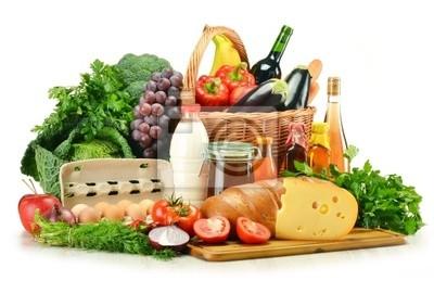 Quadro Generi alimentari in cesto di vimini tra cui ortaggi e frutta